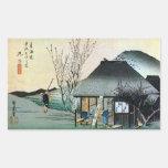 21. 丸子宿, 広重 Maruko-juku, Hiroshige, Ukiyo-e Rectangle Stickers