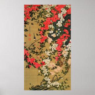 21. 薔薇小禽図, 若冲 Roses & Small Bird, Jakuchū Print