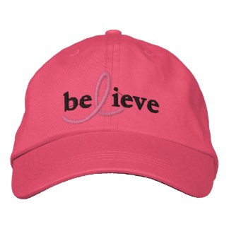($21.95) Believe Breast Cancer Ribbon Hat Embroidered Hat