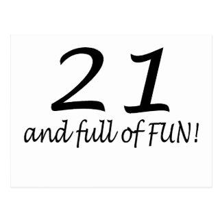21 And Full Of Fun (Blk) Postcard