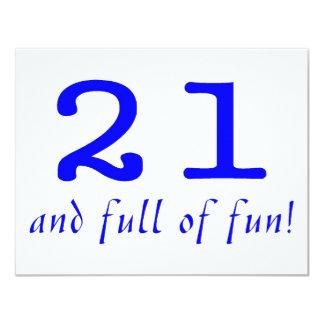 21 And Full Of Fun Blue Custom Invite