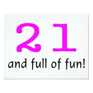 21 And Full Of Fun Pink Black 11 Cm X 14 Cm Invitation Card
