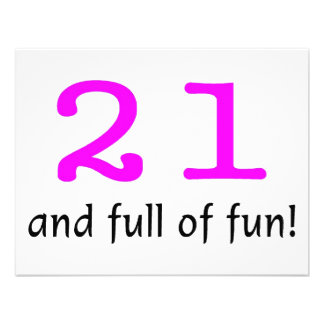 21 And Full Of Fun Pink Black Personalized Invitations