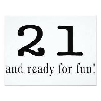 21 And Ready For Fun Black 11 Cm X 14 Cm Invitation Card