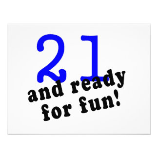 21 And Ready For Fun Blue Personalized Invites