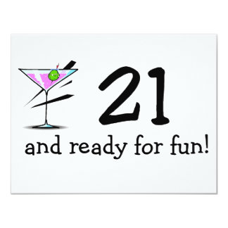 21 And Ready For Fun Martini Custom Invitation