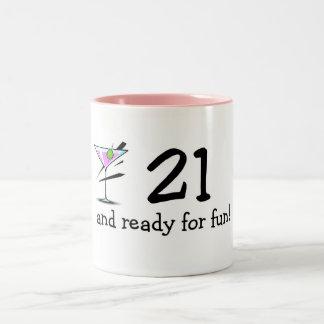 21 And Ready For Fun Martini Two-Tone Mug