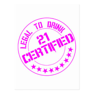 21 Birthday Item Certified Now 21-pink Postcard