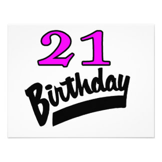 21 Birthday Pink And Black Announcement