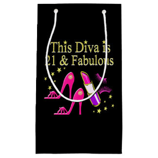 21 & FABULOUS PINK SHOE AND LIPSTICK DIVA DESIGN SMALL GIFT BAG