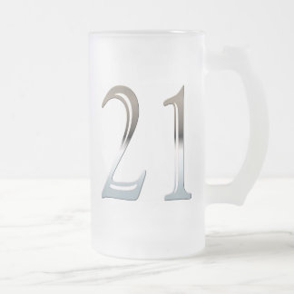 21 Frosted Glass Mug for 21st Birthday Gift