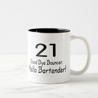 21 Good Bye Bouncer Hello Bartender (Blk) Two-Tone Mug