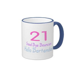 21 Good Bye Bouncer Hello Bartender (Color) Ringer Mug