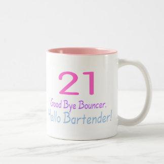 21 Good Bye Bouncer Hello Bartender (Color) Two-Tone Mug