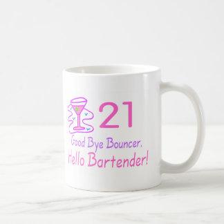 21 Good Bye Bouncer Hello Bartender (Pink) Basic White Mug