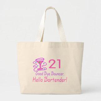 21 Good Bye Bouncer Hello Bartender (Pink) Jumbo Tote Bag