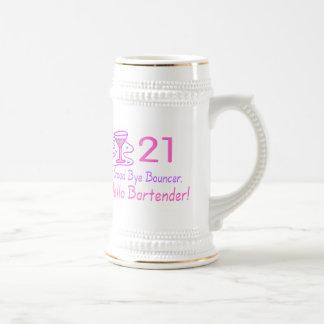 21 Good Bye Bouncer Hello Bartender (Pink) 18 Oz Beer Stein