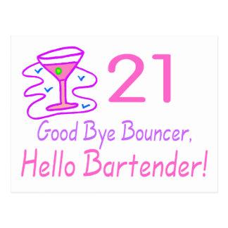21 Good Bye Bouncer Hello Bartender (Pink) Postcard