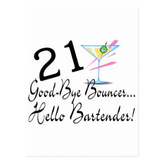 21 Good Bye Bouncer Hello Bartender Postcard