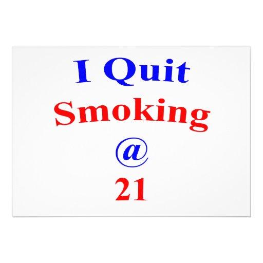 21 I Quit Smoking Personalized Invite