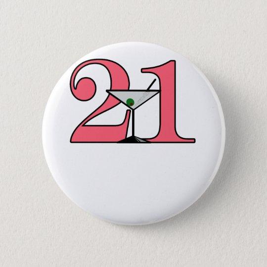 """""""21"""" Martini design 6 Cm Round Badge"""