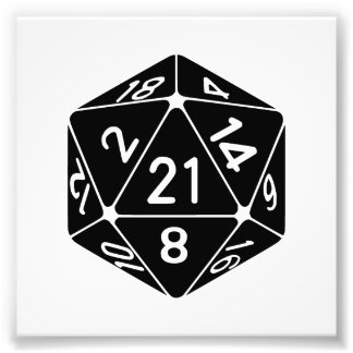 21 Sided 21st Birthday D20 Fantasy Gamer Die Photographic Print