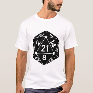 21 Sided 21st Birthday D20 Fantasy Gamer Die T-Shirt