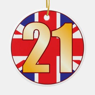 21 UK Gold Round Ceramic Decoration