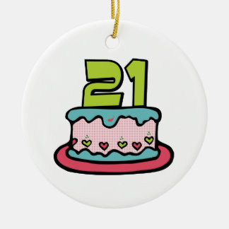 21 Year Old Birthday Cake Christmas Ornament
