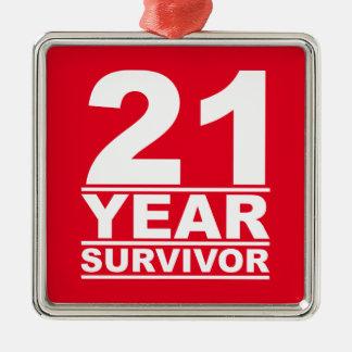 21 year survivor Silver-Colored square decoration