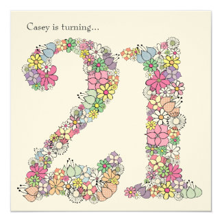 21st 21 Girls Birthday Party Custom Invitation