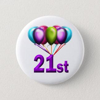 21st 6 cm round badge