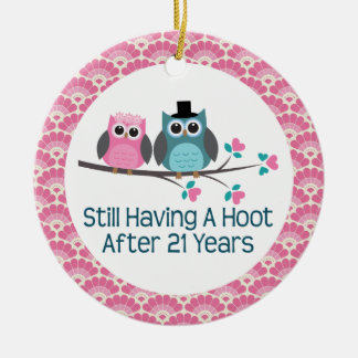 21st Anniversary Owl Wedding Anniversaries Gift Round Ceramic Decoration