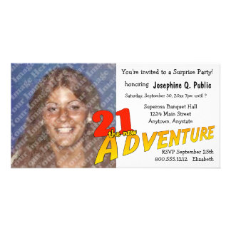 21st Birthday Adventure Party Photo Invitation