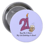 21st Birthday Beer (customisable) 7.5 Cm Round Badge