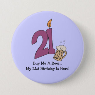21st Birthday Beer (customizable) 7.5 Cm Round Badge