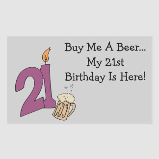21st Birthday Beer (customizable) Rectangular Sticker