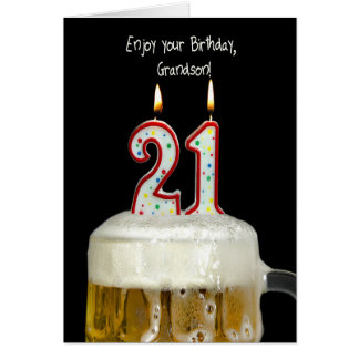 21st Birthday Beer for Grandson Greeting Card