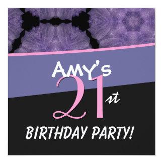 21st Birthday Big Bold Pink Flower Star Pattern 13 Cm X 13 Cm Square Invitation Card