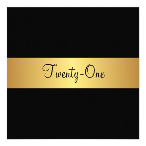 21st Birthday Black and Yellow Gold Personalized Invitation