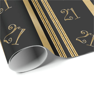21st birthday black gold pattern wrapping paper