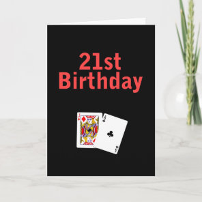 21st Birthday Black Jack Card