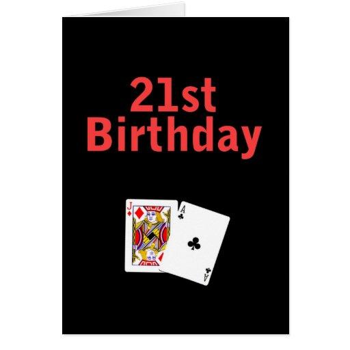 21st Birthday Black Jack Card