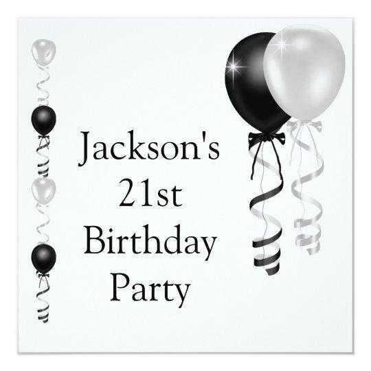 21st Birthday Black Silver White Balloons Card