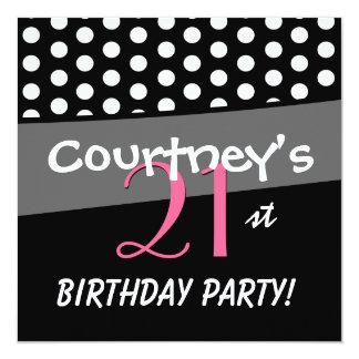 21st Birthday Black White Pink Polka Dots 13 Cm X 13 Cm Square Invitation Card