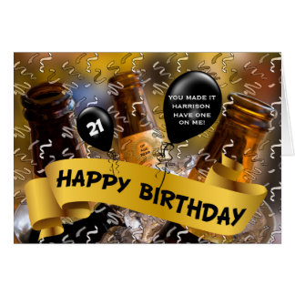21st Birthday - Bucket of Beer Custom Card