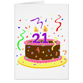 21st Birthday Cake Greeting Card