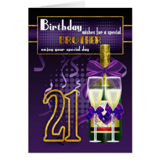 21st Birthday Card For Brother, Brother Birthday