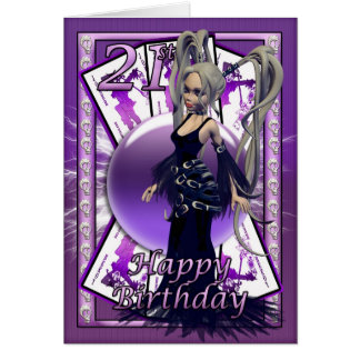 21st Birthday Card Gothic Doll, skuls, orb, cards