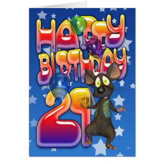 21st Birthday Card, Happy Birthday Greeting Card